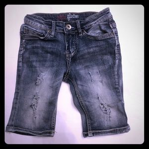 Elite Girls Sz  8 Denim Distressed Medium Wash